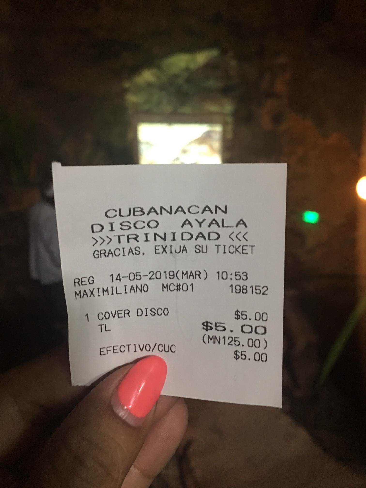 Receipt from Disco Ayala, Trinidad, Cuba