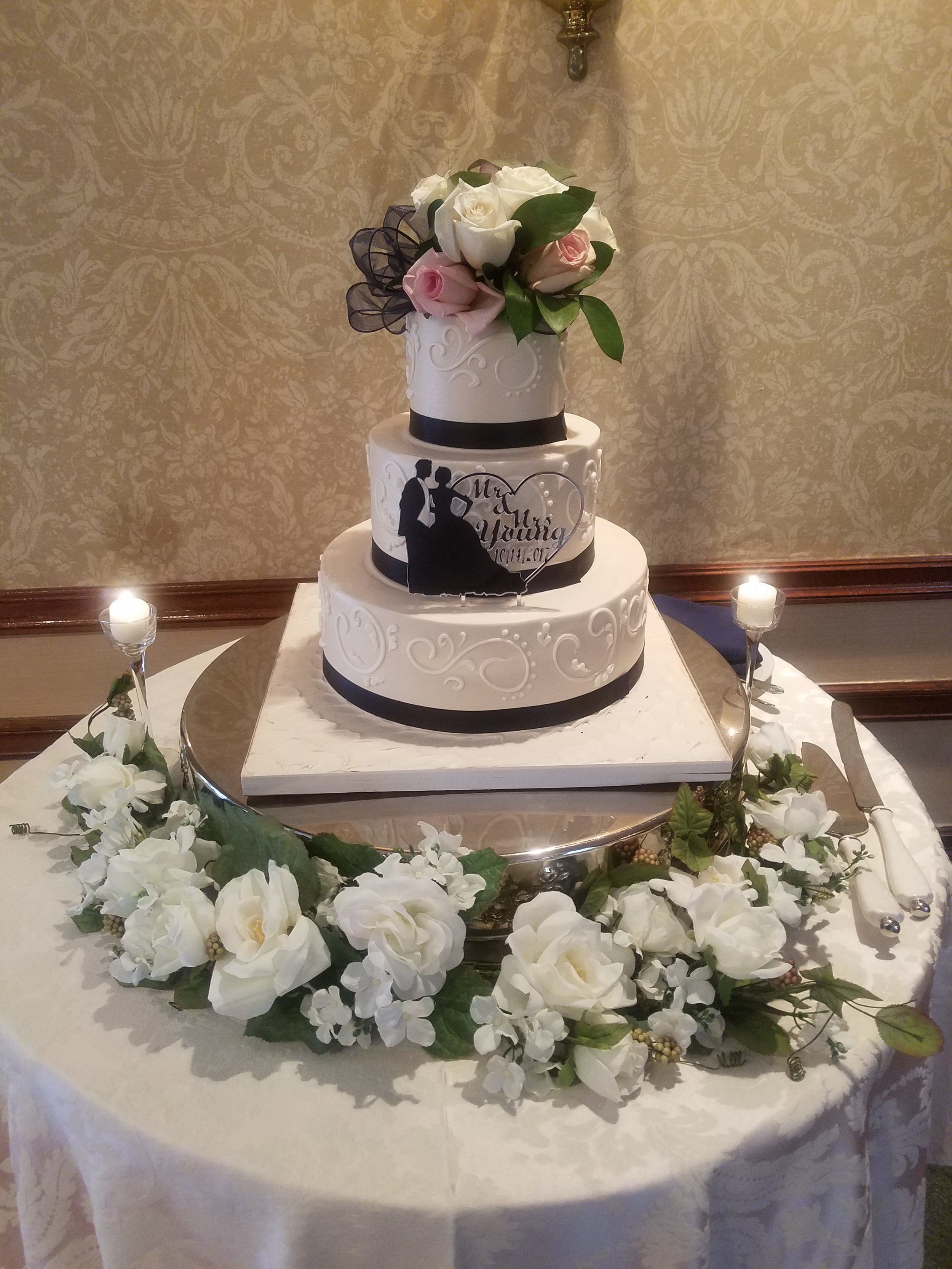 Black and White - A statement piece, the black and white cake, is a great addition to any type of wedding. Get more black and white inspiration from MyWedding.