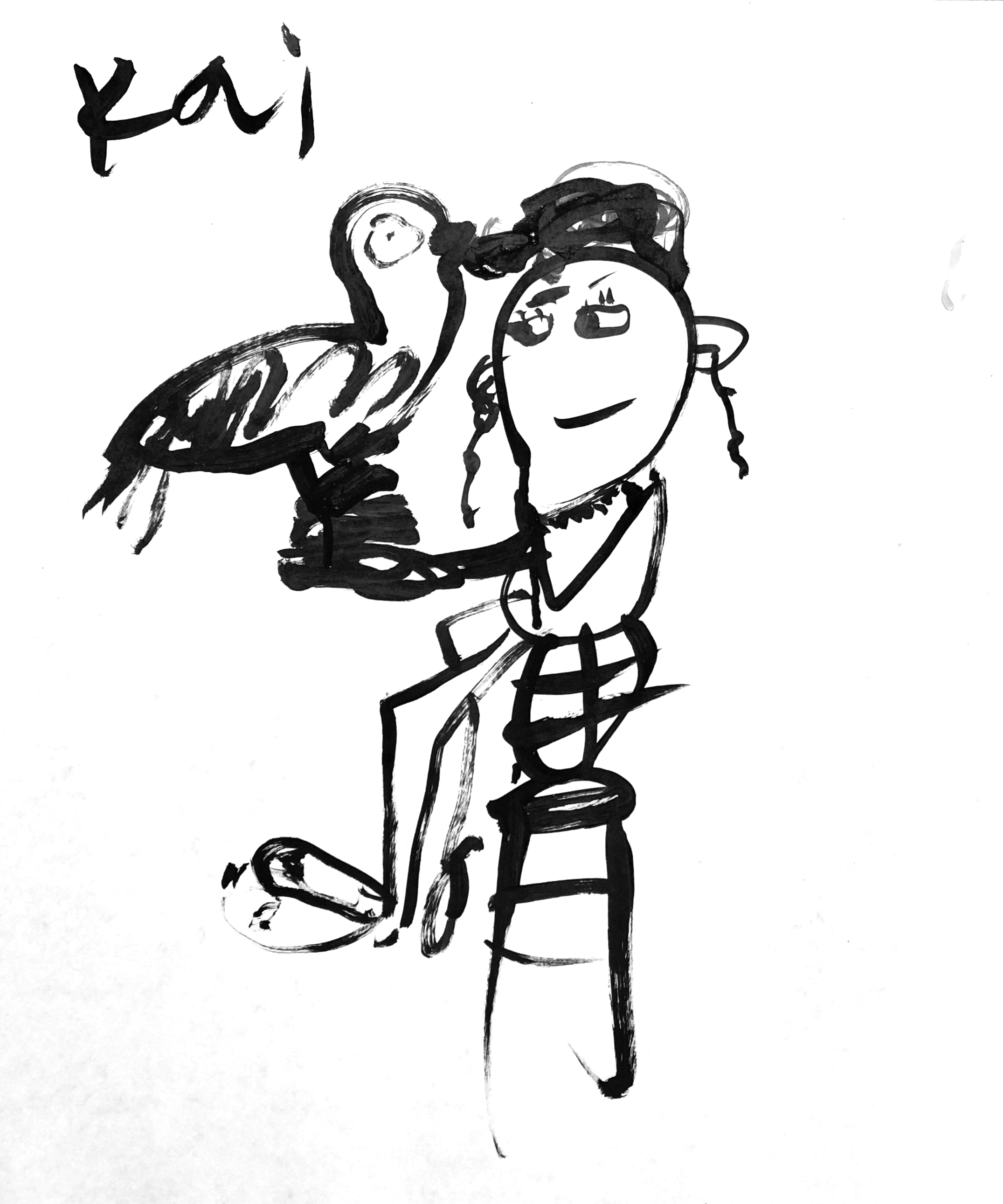 """""""Katya and the turkey"""" by Kai. Ink on paper."""