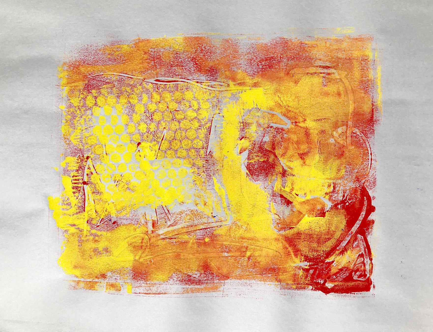 Monoprint test on Newsprint paper using different textures: bubblewrap, rope.