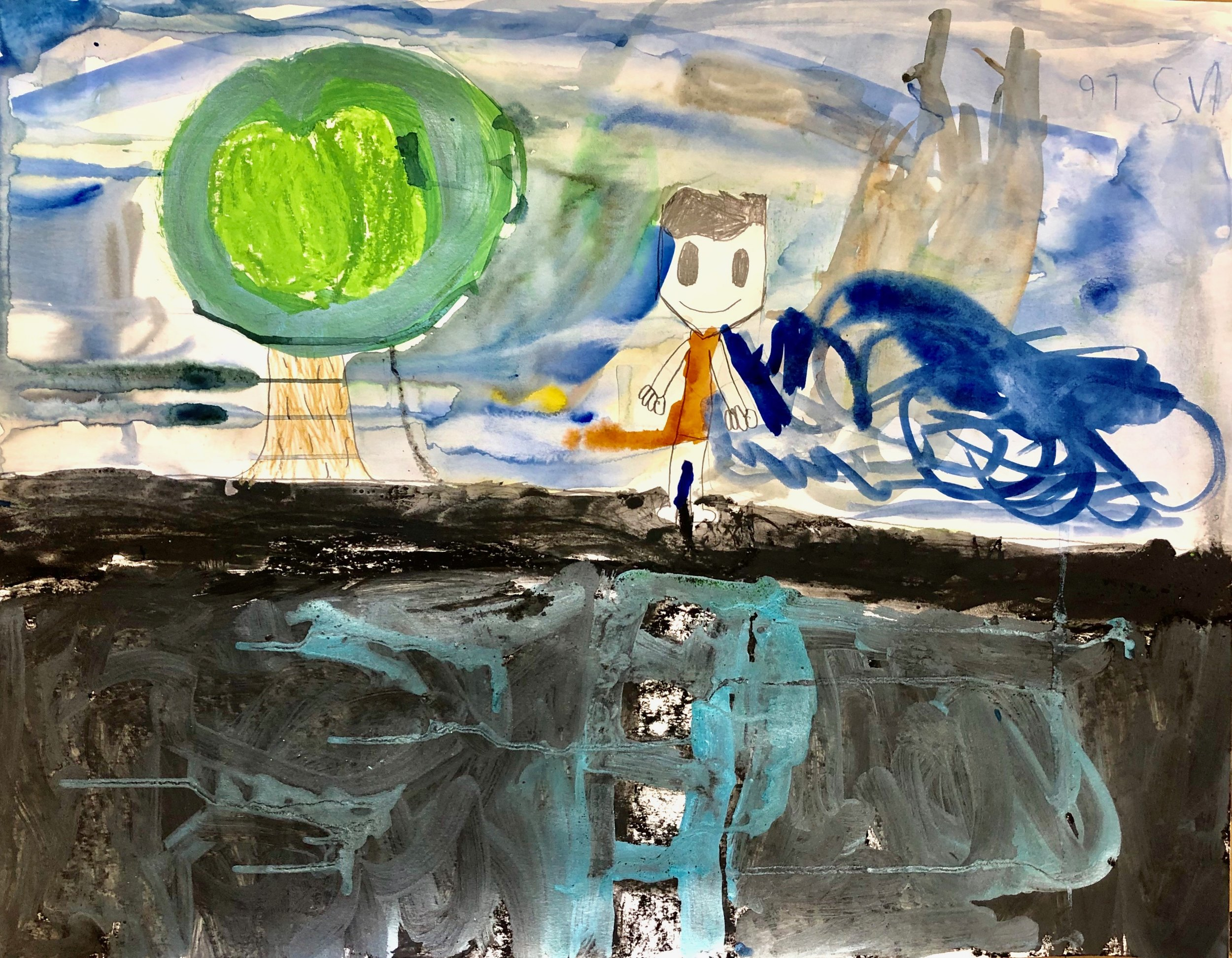 Nathanial, 6 years old. Watercolor, acrylic ink, charcoal, pastel on paper.