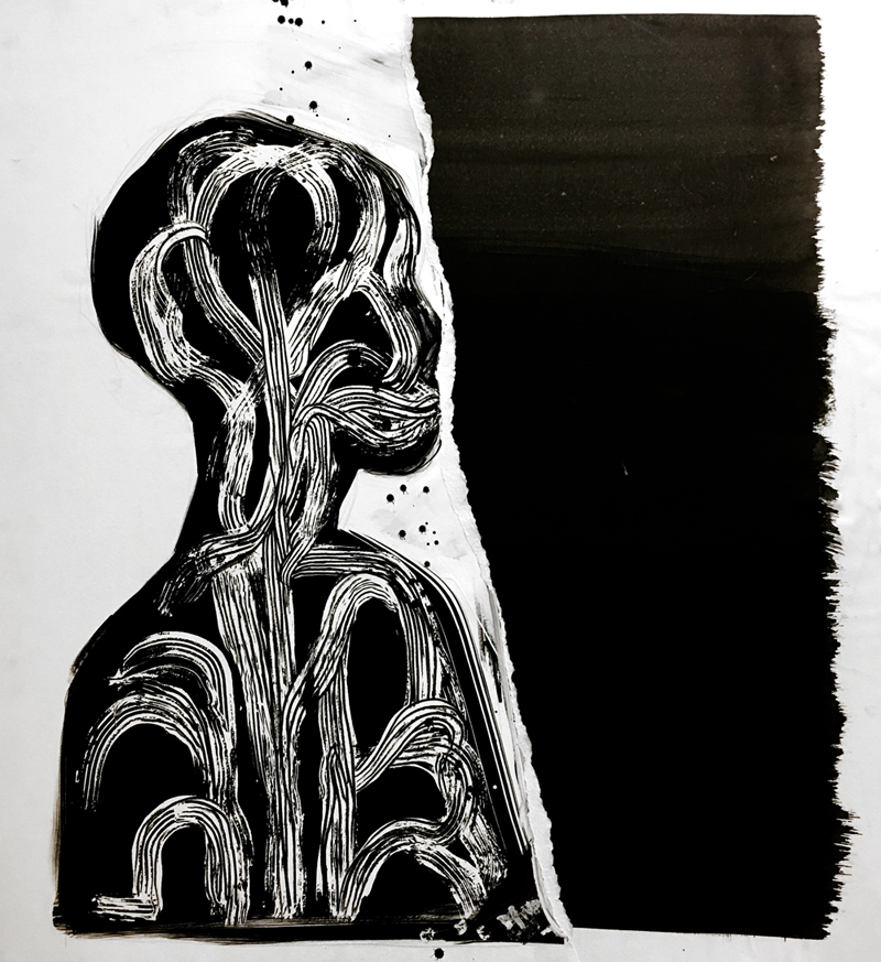 """Soul Anatomy     2016 27.5"""" x 29.75"""" ink and paper on Wood"""