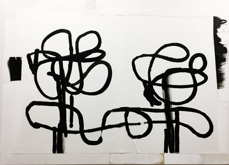 """The Dialogue     2016 4' x 34.5"""" ink and paper on Wood"""