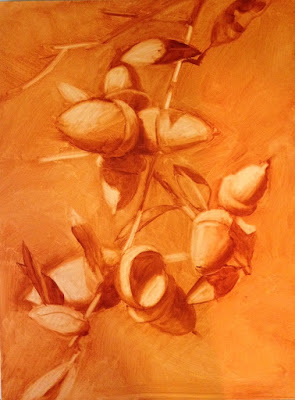 This is a photo of the underpainting. Done in Burnt Sienna, this is how I place my image on the panel, develop the pattern of values and make sure I like the composition.