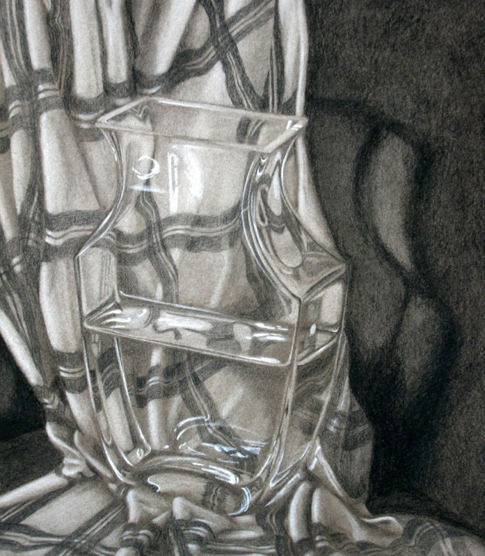 Light Through Glass - 12x14 - Charcoal and chalk on paper