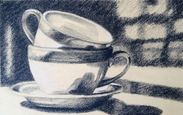 Bright Morning - 5x7 - Charcoal on paper