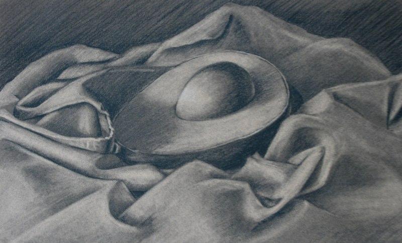 Avocado Half - 9x14 - charcoal on paper