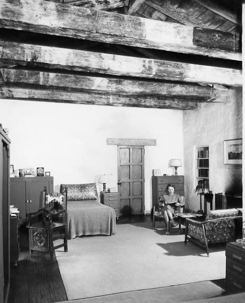 Mid 1950's Carol Connell sitting in the Mill's bedroom, today the Granary is home to the California Art Club Gallery.