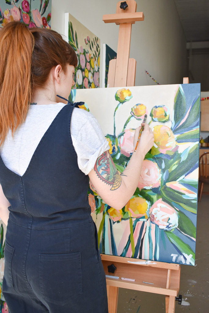 Taylor Lee Paints Artist Working on Floral Painting