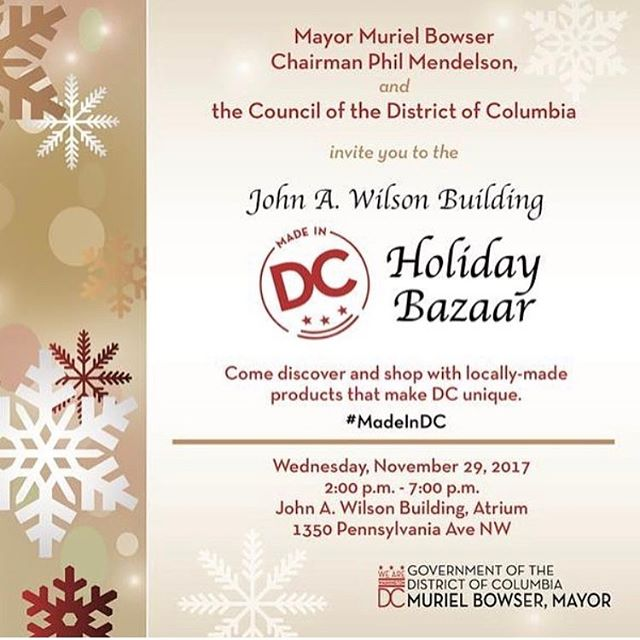 We are honored to curate the Mayor's #madeindc Holiday Bazaar! Stop by today from 2-7 to shop 13 of DC's makers!
