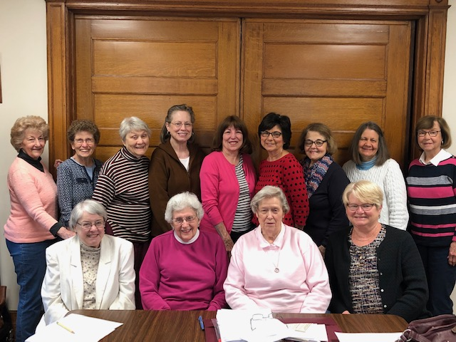 The Women's Association Coordinating Team Standing : Jean Mayersky, Kathy Knight, Liz Wettstein, Betty Doby, Barbara Sickles, Marion Laban, Ceil Hopkins, Pam Watkinson, Jean Mansur   Sitting : Kathy Owens, Jane Sorensen, Emma Hooper, Joyce Freed   Not pictured : Kathie Verse, Kathy Finnerty