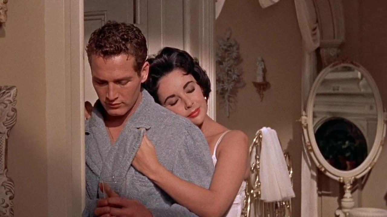 Paul Newman and Elizabeth Taylor in Richard Brooks' Cat on a Hot Tin Roof.