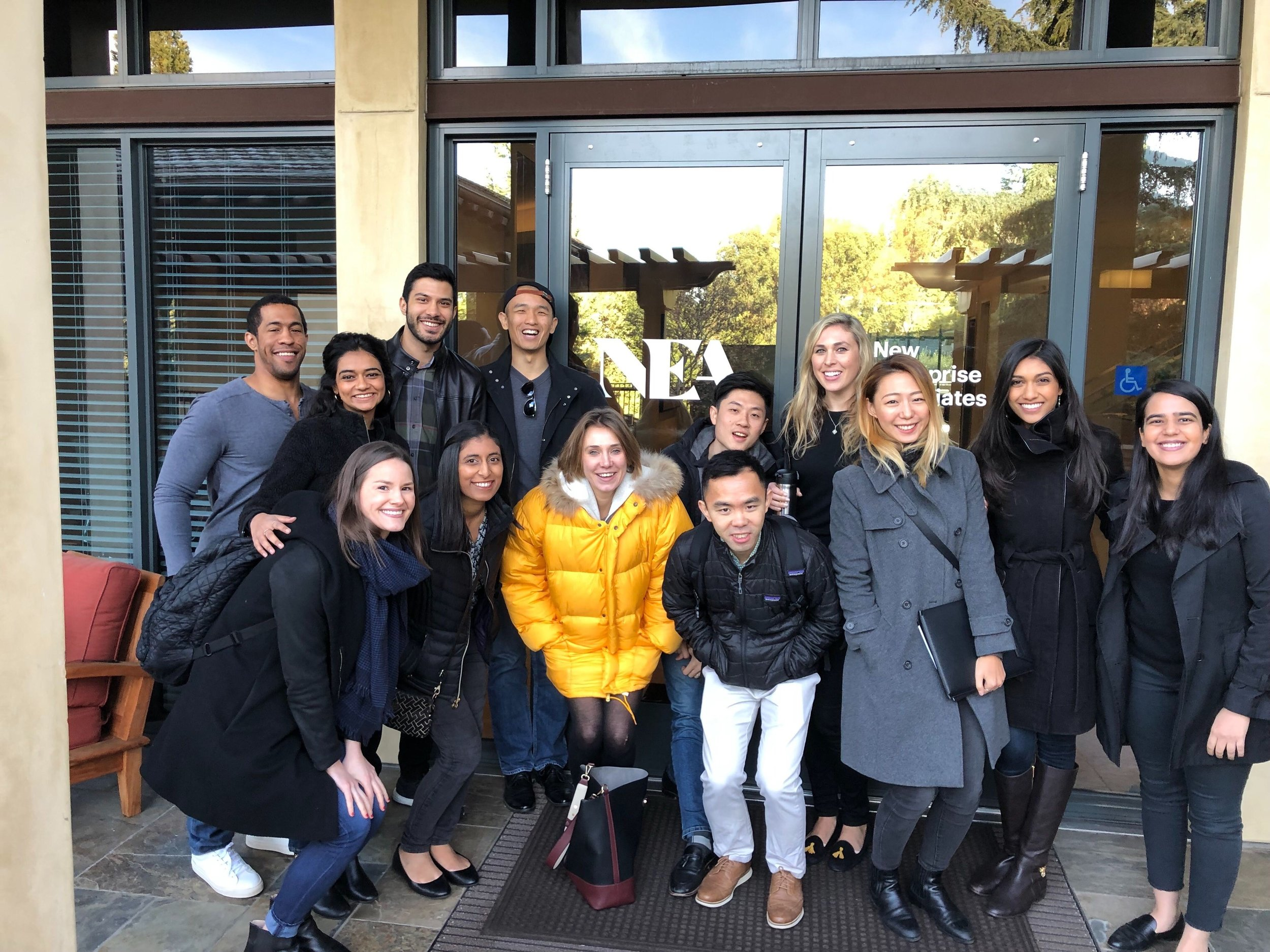 CBS students outside NEA after an inspiring meeting with serial inventor and entrepreneur Josh Makower (CBS Alum) - Jan 2019