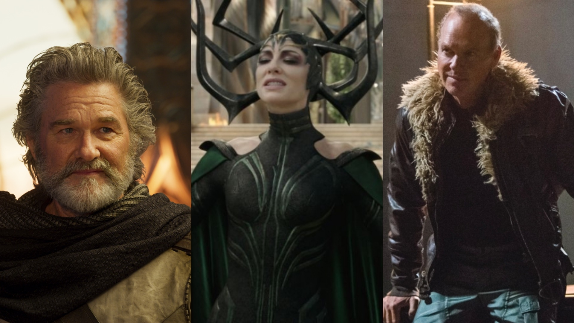 Kurt Russell as Ego in Guardians of the Galaxy Vol. 2, Cate Blanchett as Hela in Thor: Ragnarok, Michael Keaton as Vulture in Spider-Man: Homecoming