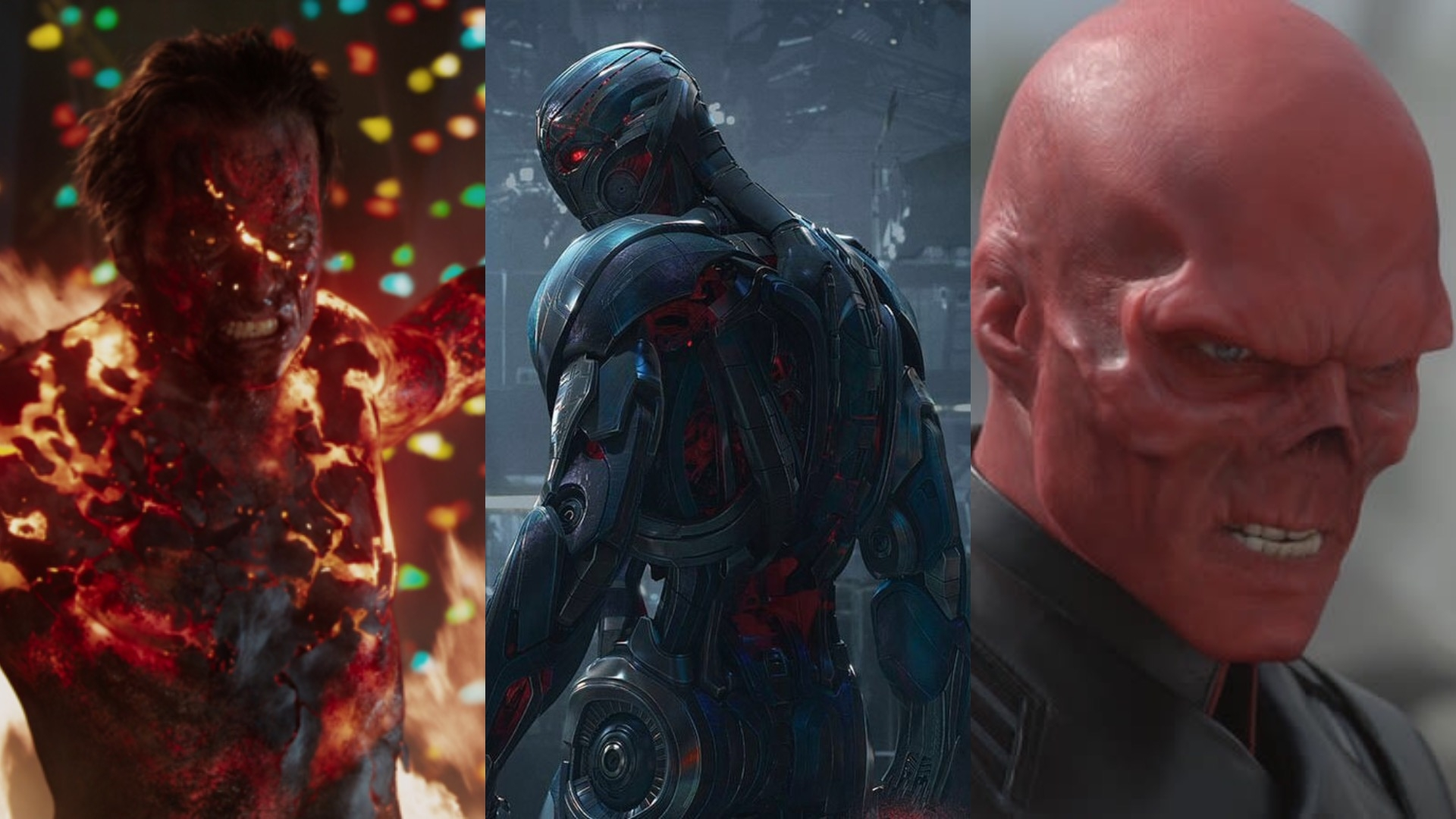 Guy Pearce as The Mandarin in Iron Man 3, James Spader as Ultron in Avengers: Age of Ultron, Hugo Weaving as Red Skull in Captain America: The First Avenger