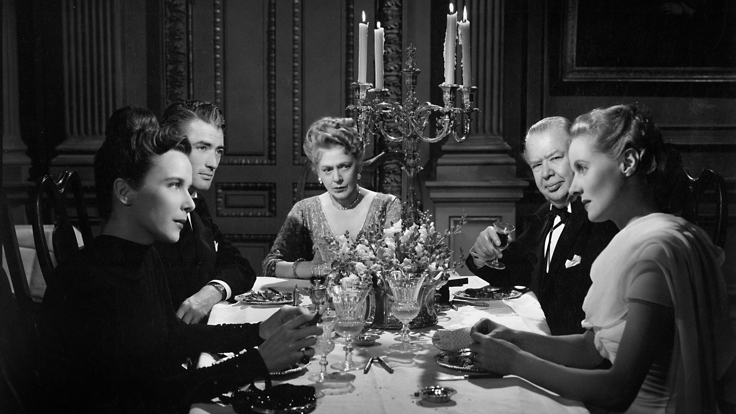 Ann Todd, Charles Laughton, Ethel Barrymore, Gregory Peck, Alida Valli, Louis Jourdan, Alfred Hitchcock,