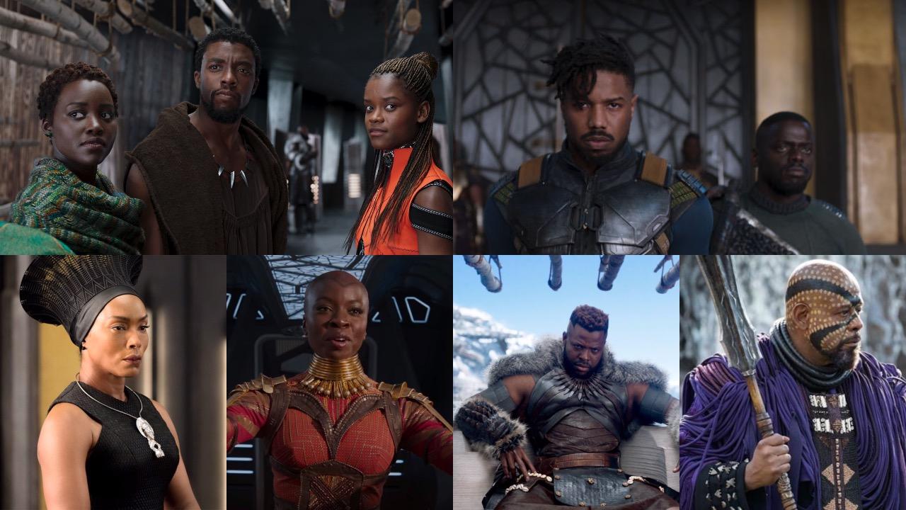 Black Panther, Lupita Nyong'o, Michael B Jordan, Danai Gurira, Angela Bassett, Chadwick Boseman, Daniel Kaluuya, Winston Duke, Leticia Wright,
