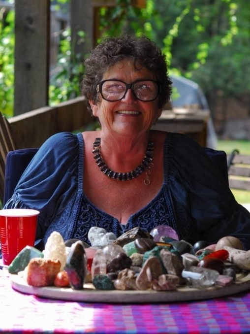 """Terry Milton, The Stone Lady    Involved in the psychic and metaphysical field since 1976, Terry Milton is called 'The Stone Lady' and 'the voice of the stones' because of her passion for stones and the interchangeable nature of stones and people in her psychic readings. Her up-beat, down-to-earth readings are based on parallels, similarities, and synchronicities which exist between human nature and Mother Nature. The Stone Lady's knowledge of stones and crystals is based largely on her many decades of combining her psychic gifts with her love of nature. Her Stone Readings gradually evolved as she began to notice uncanny parallels and similarities between """"Mother Nature"""" and """"Human Nature,"""" and between the 'world of people' and the 'world of stones.'"""