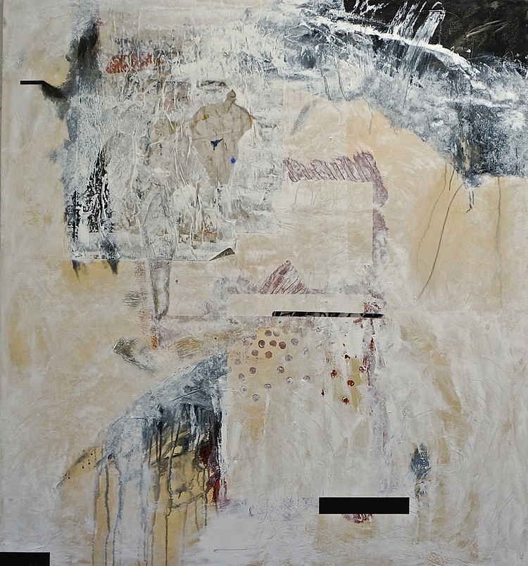 (1) Between the Knife and the Heart    acrylic, mixed media on canvas, 51 x 47 inches