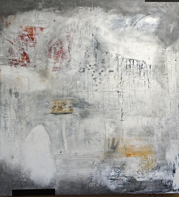 (2) Missing Horizon   acrylic & mixed media on canvas, 51 x 47 inches