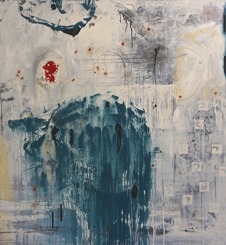 (3) In Time: Threats and Promises   acrylic & mixed media on canvas, 51 x 47 inches