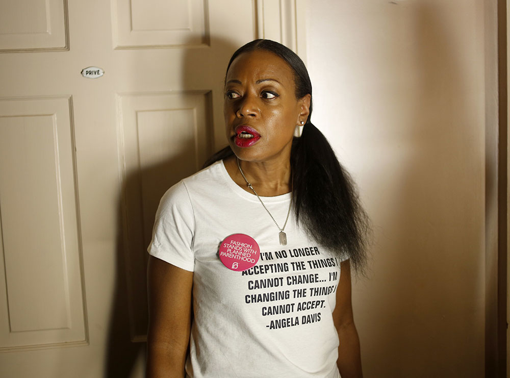 Designer Tracey Reese is among those during this year's New York Fashion Week who donned a pin in support of Planned Parenthood. The Public School Fashion collection is just one show that chose to speak out against current politics via their design. (Seth Wenig/AP Photo)