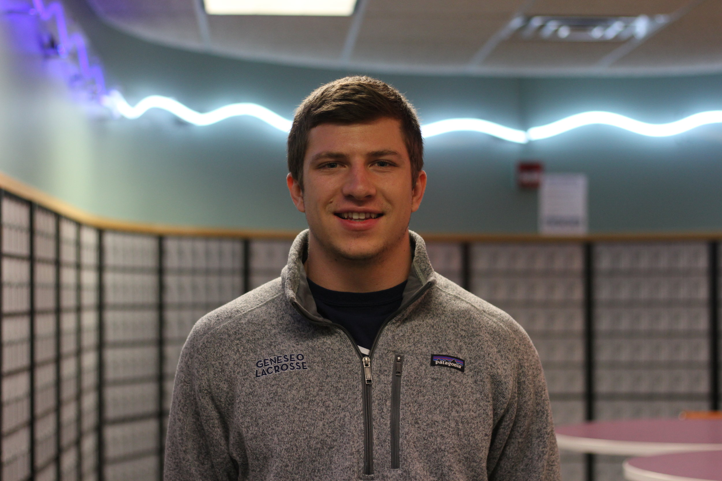 Senior communication major Drew Madarasz is a key asset to the Geneseo men's lacrosse team, as he is a figure for the underclassmen to look up to. After graduation, Madarasz plans to use the skills he has learned at Geneseo in the digital marketing field. (Annie Renaud/News Editor)