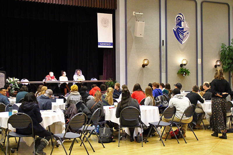 Multiple members of the Geneseo campus community hosted a teach-in on Friday April 7, in which attendees engaged in a dialogue about activism strategies. Multiple panel discussions were held during the day, and afterward New York Civil Liberties Union Genesee Valley Organizer Iman Abid led a discussion about how to effectively activate for disenfranchised groups on campus. (Ellayna Fredericks/Staff Photographer)