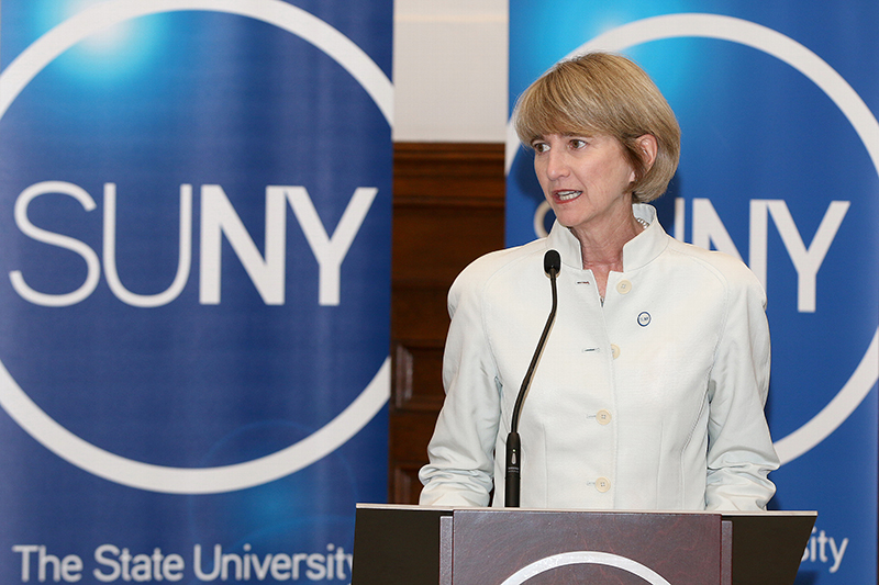 Kristina Johnson (center), an engineer, was selected as the SUNY chancellor on Monday April 24 after Chancellor Nancy Zimpher (right) announced her decision to step down. SUNY Board of Trustees Chairperson Carl McCall (left) led the search committee that chose Johnson. (Courtesy of SUNY)