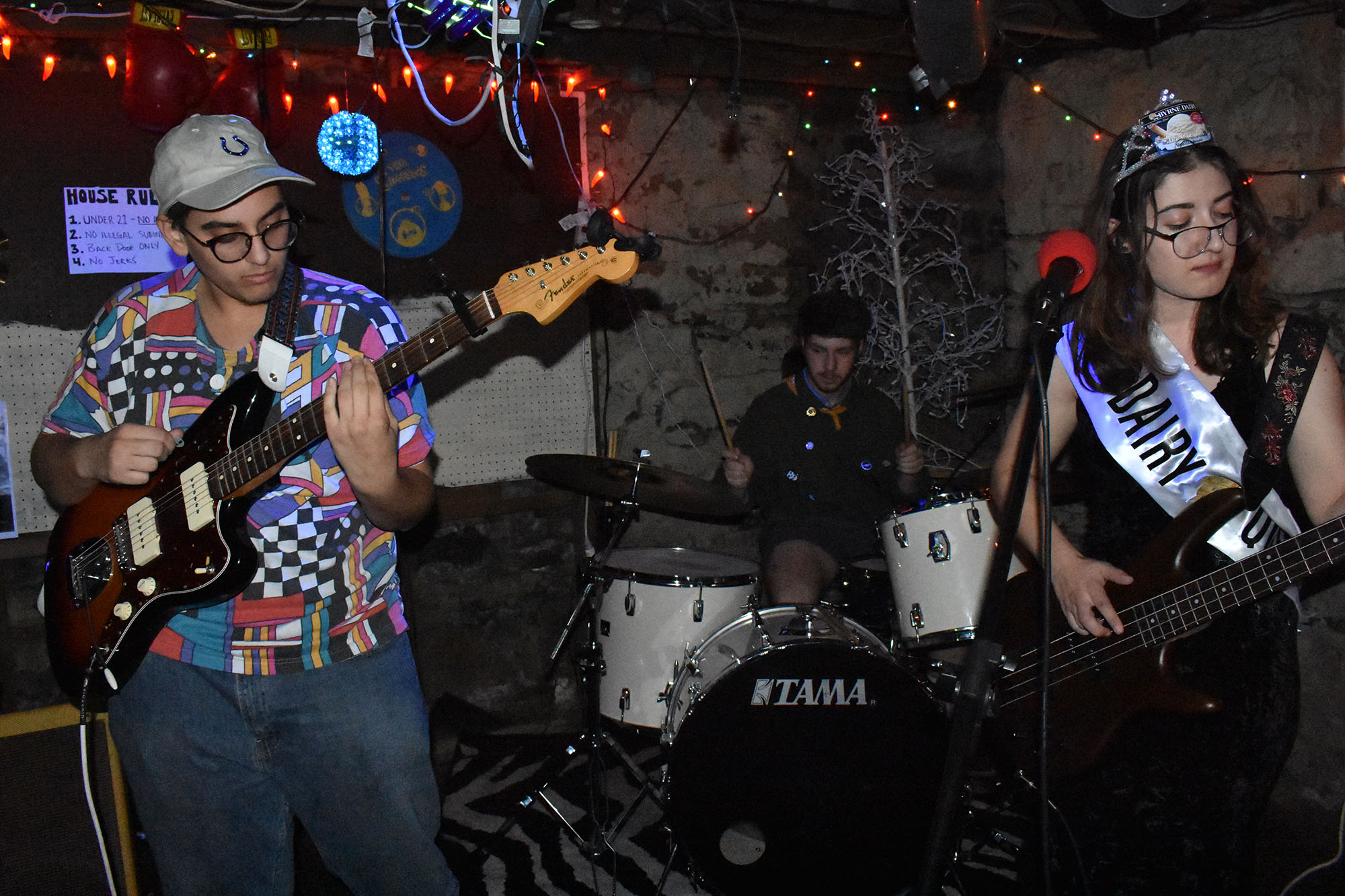 In honor of Samual Nichols, a Geneseo student who passed away in May, Straw Hat was created to spread his passion for music. The band consists of guitarist and student at Monroe Community College Noah Elias, drummer sophomore Marty Bezinger and bassist and vocalist senior Jennifer Bender (pictured above from left to right). (Izzy Graziano/Knights' Life Editor)