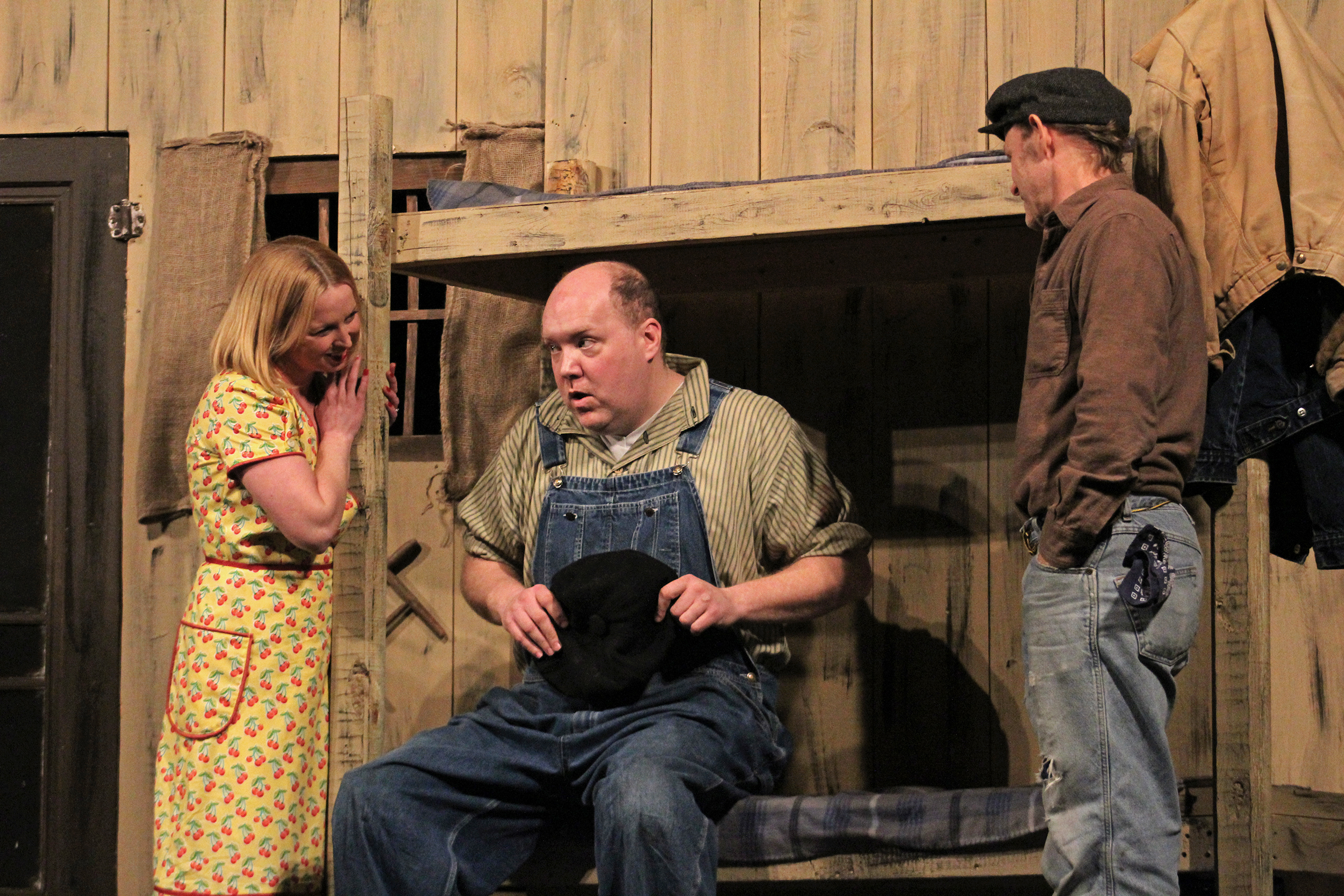 """The Geneseo Community Players put on a production of """"Of Mice and Men"""" in the Riviera Theater from Friday Jan. 19 to Saturday Jan. 20. The play featured many talented actors, including Geneseo student musical theater major sophomore Kyle Johnson who played Crooks. Pictured above from left to right: Curley's wife (Amanda Lynch), Lenny Small (Toby Drowne) and George Milton (Chris Norton). (Catherine White/Arts and Entertainment Editor)"""