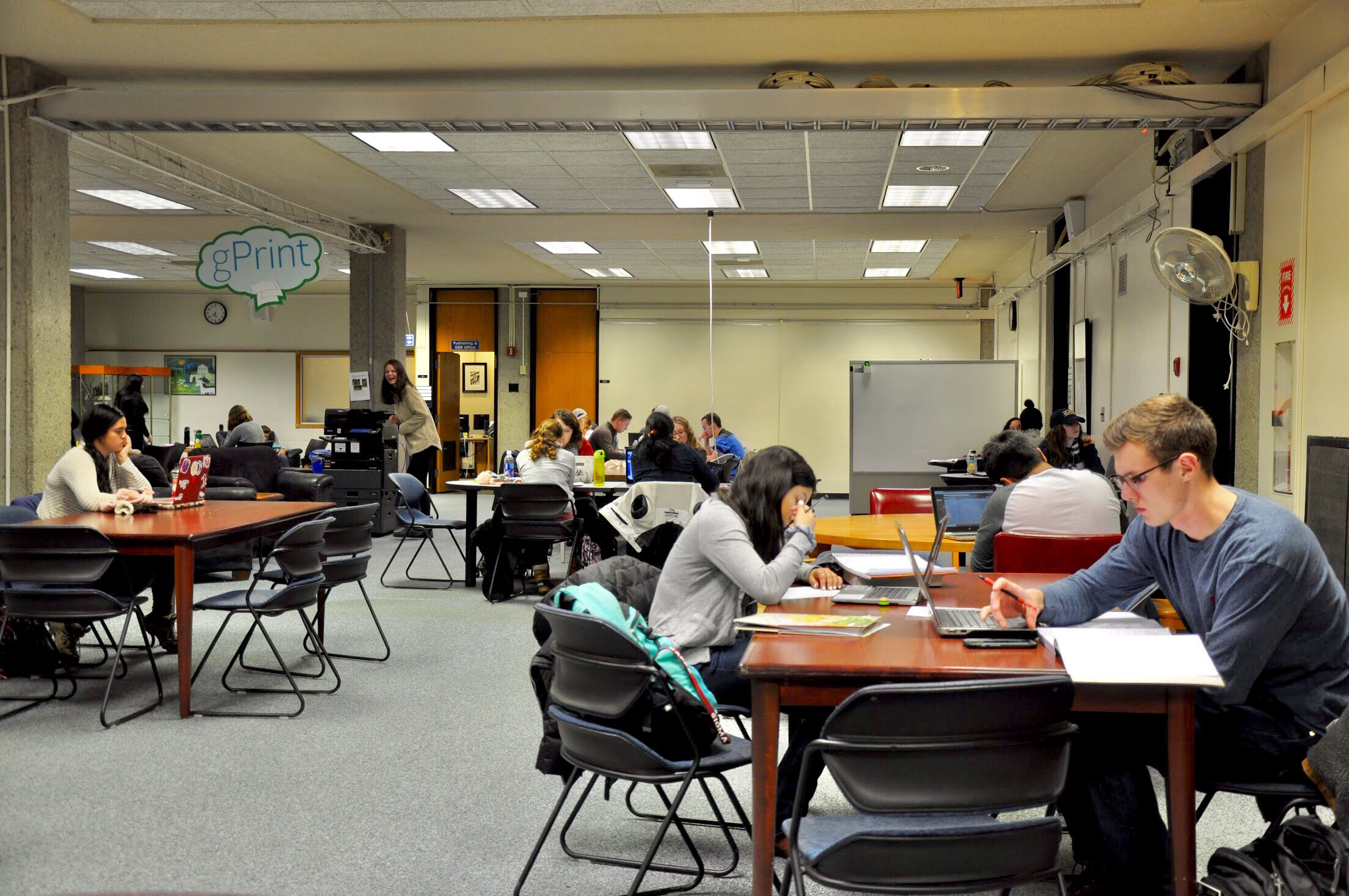 Students work in Milne Library in an area that previously housed library administrators. The library will continue similar renovations throughout the calendar year in order to meet students' desires for increased study space. (Annalee Bannison/Photo Editor)