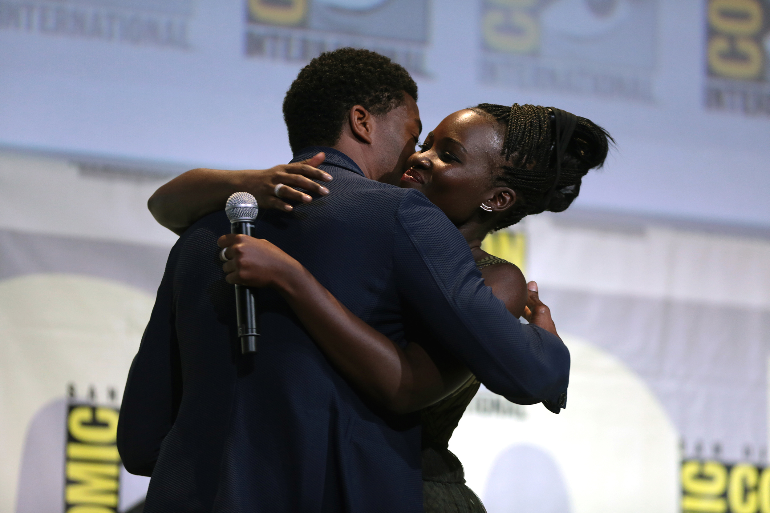 Pictured above is Chadwick Boseman and Lupita Nyong'o at the 2016 Comic Con International in San Diego promoting their film  Black Panther  in which they play Prince T'Challa and Nakia, respectively. The movie, directed by Ryan Coogler, broke box office records in its opening weekend and features a predominately black cast who gave stunning performances. (Gage Skidmore/Creative Commons)