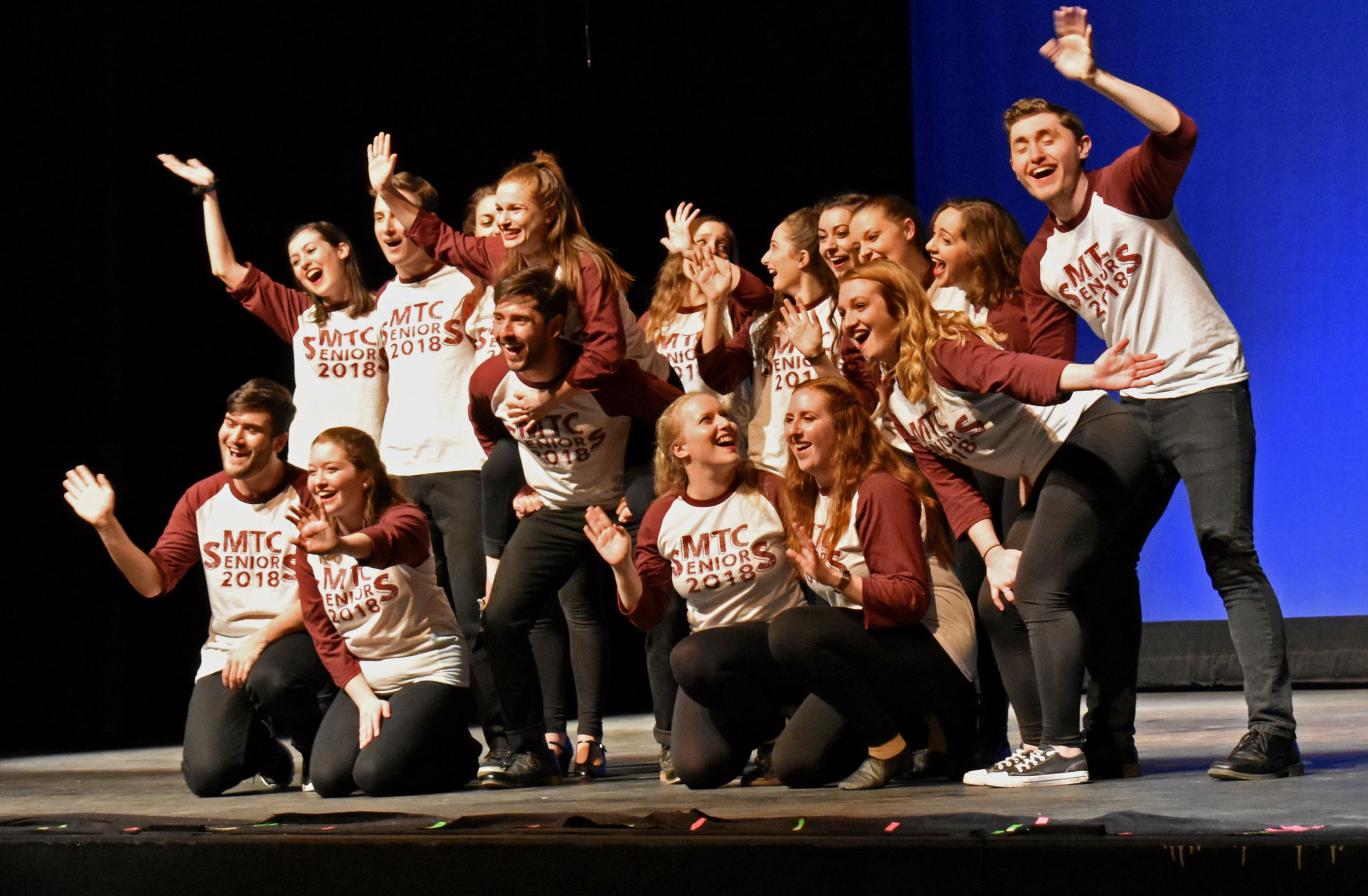 """The Musical Theater Club presented their show, """"Live from New York , it's MTC!"""" on Saturday March 24 in the Alice Austin Theater. The show was a combination of short comedy routines and modified cover songs that tailored to MTC. Pictured above are the MTC seniors. (Izzy Graziano/Knights' Life Editor"""