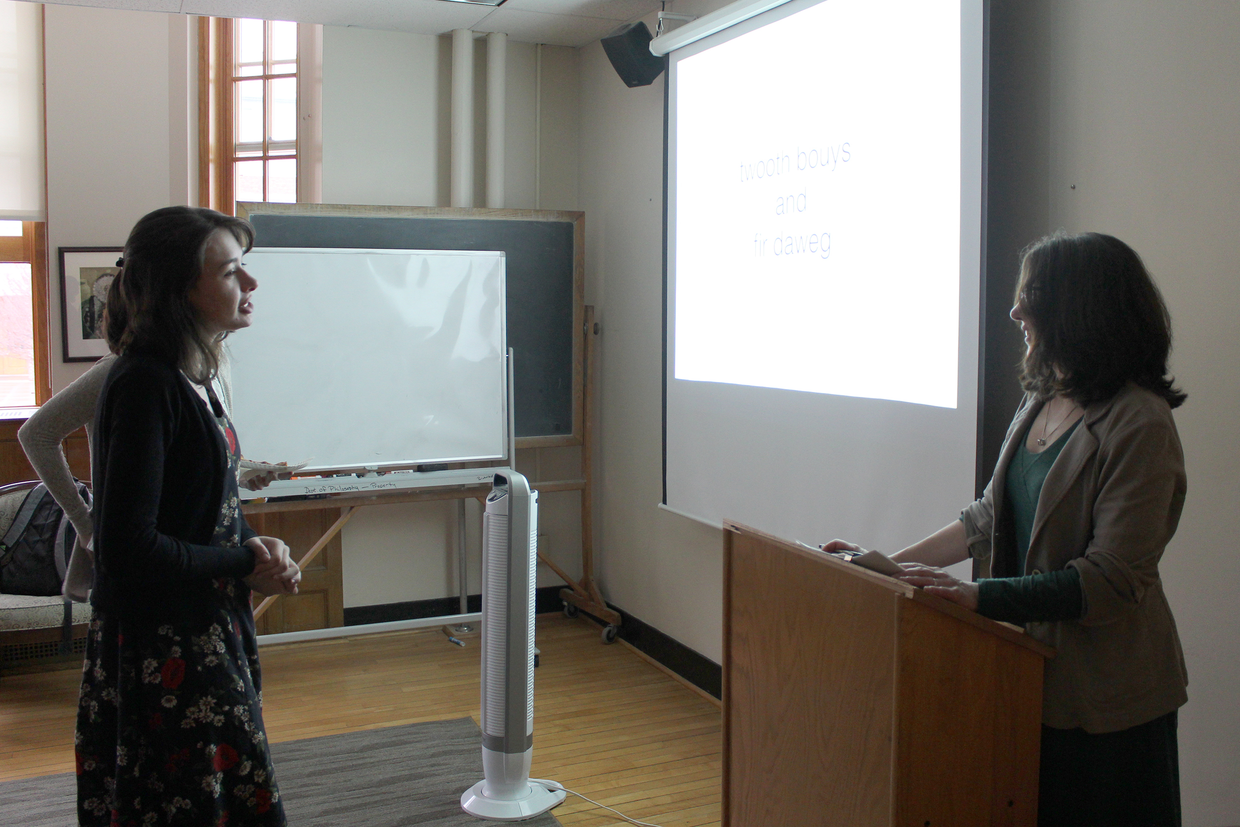 Distinguished Teaching Professor of English Beth McCoy presented her paper on Wednesday April 25. McCoy discussed the racism present throughout American history and the dehumanization associated with it (Malachy Dempsey/Incoming managing editor).
