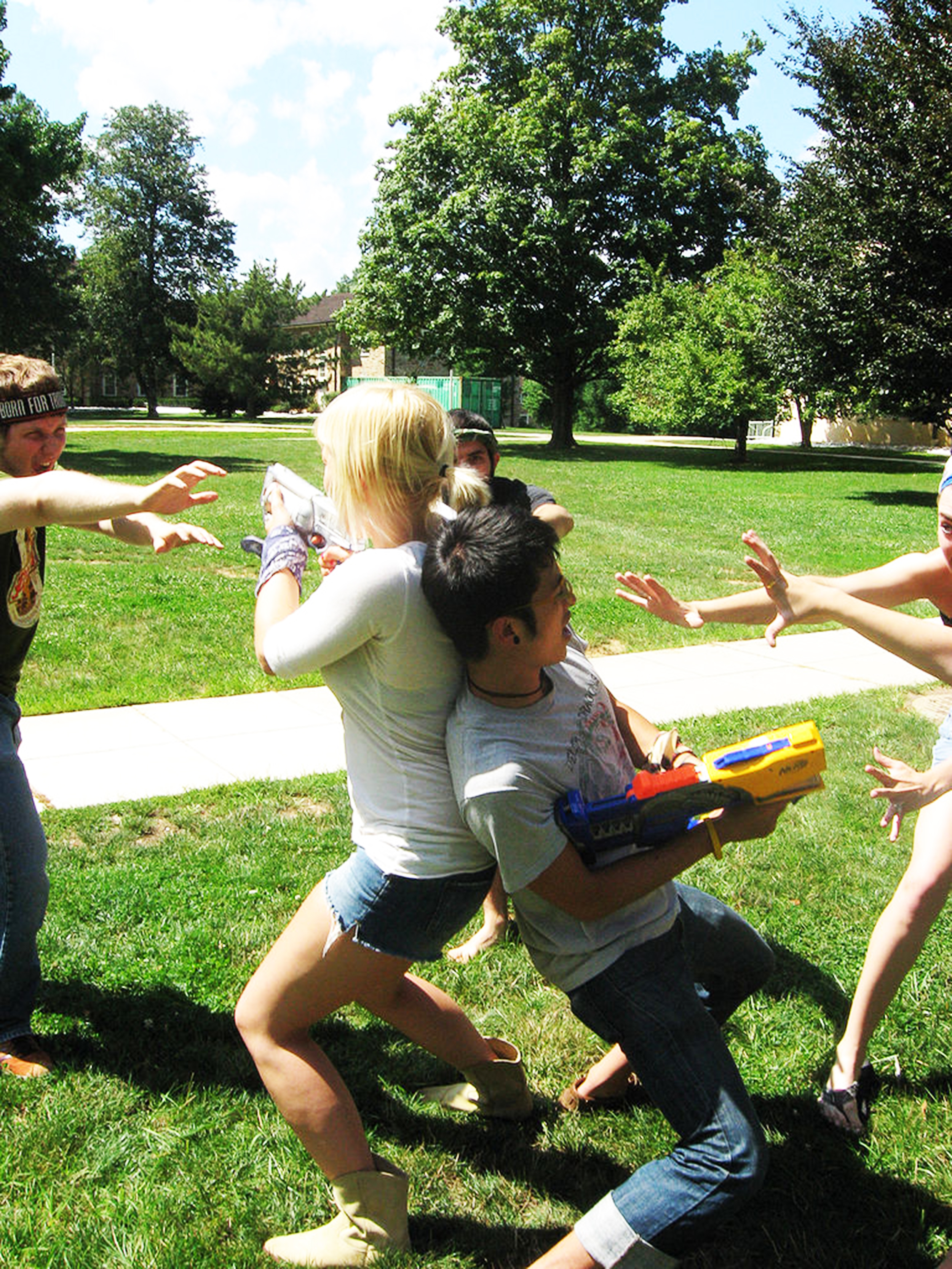 Students at Goucher College (pictured above) play Humans vs. Zombies. The game should be banned at Geneseo considering the insidiousness of mass shootings and the game's use of Nerf guns (maxistentialist/creative commons).