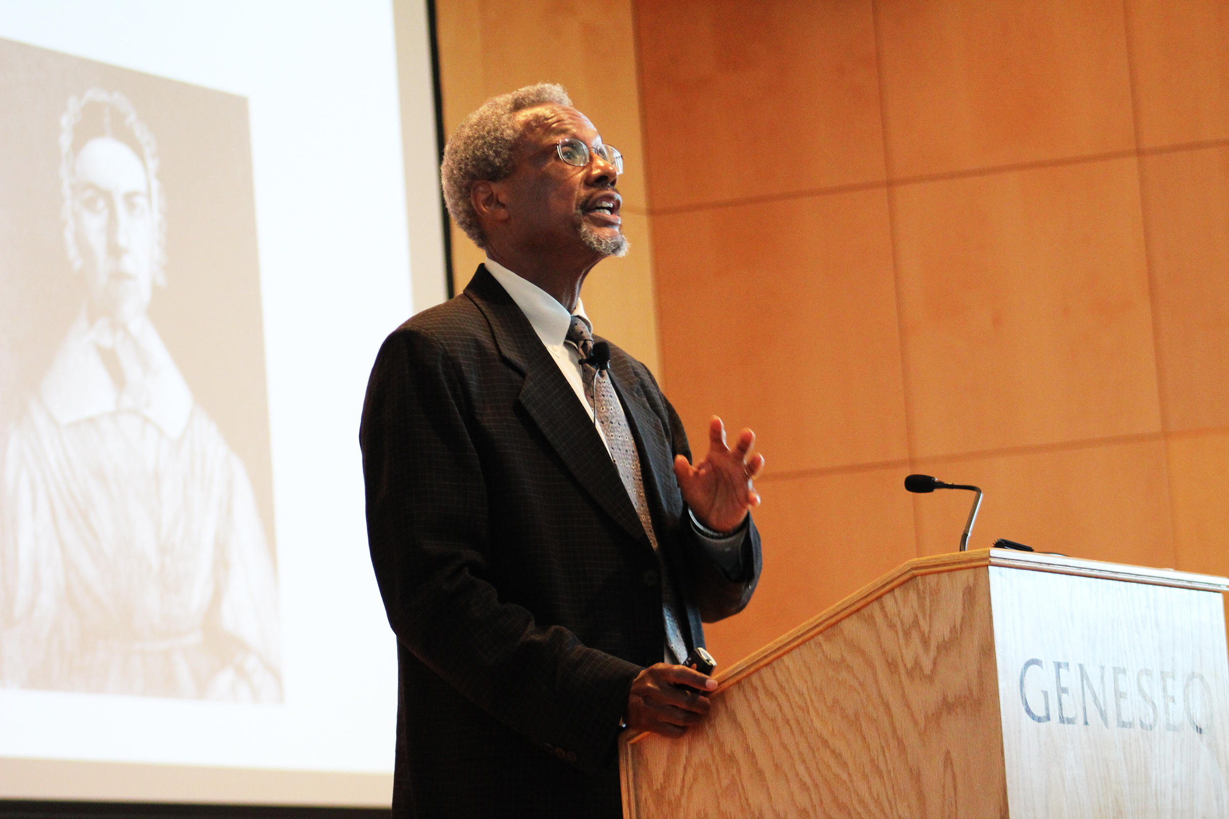 Renown historian Spencer Crew (pictured above) delivered an inspiring lecture on Friday Sept. 28 in Doty Hall. Crew is the former director of the Smithsonian National Museum of American History and has done extensive research on the Underground Railroad (Catherine White/Editor-in-chief).