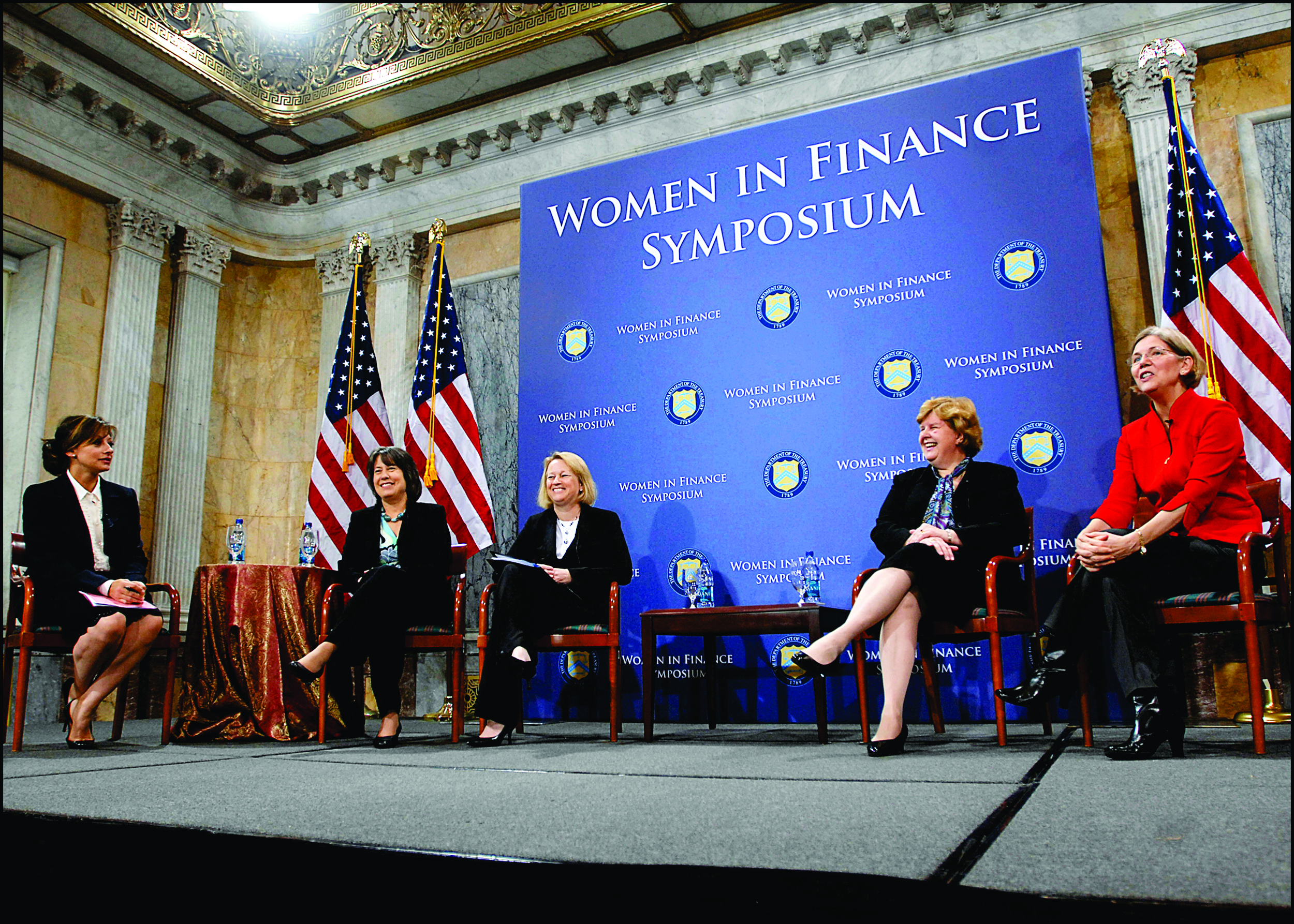 A panel at the Women in Finance Symposium (pictured above) highlights successful business women. Despite evidence that gender diversity is beneficial to the workplace, there is still an underrepresentation of women in many professional fields (U.S. Department of the treasury/Creative commons).