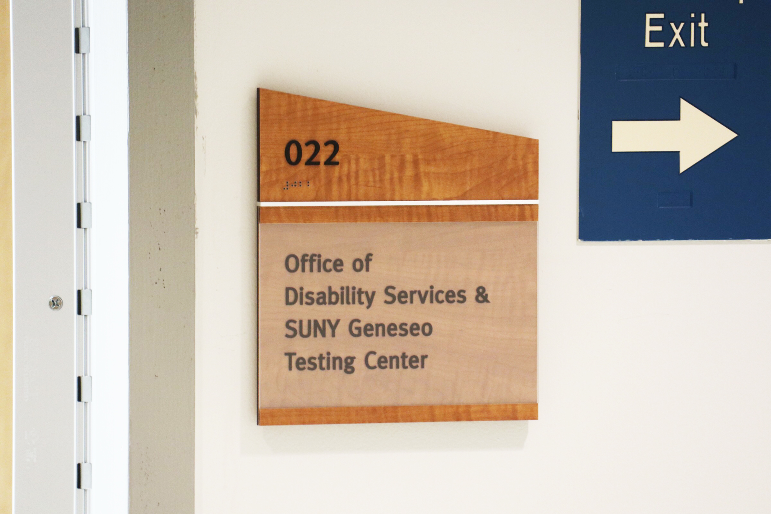 The college is looking to rebrand and improve The Office of Disabilities Services & SUNY Geneseo Testing Center (pictured above) located in Erwin Hall after the retirement of Assistant Dean for Disabilities Services Tabitha Buggie-Hunt. Students have raised issues with a lack of support from the office in the past and some hope this will bring positive changes to how the college approaches accommodations for students with disabilities. The college partnered with national organization AHEAD for consulting purposes to improve guidelines for disabilities services. (Kenji Nagayoshi/staff photographer)