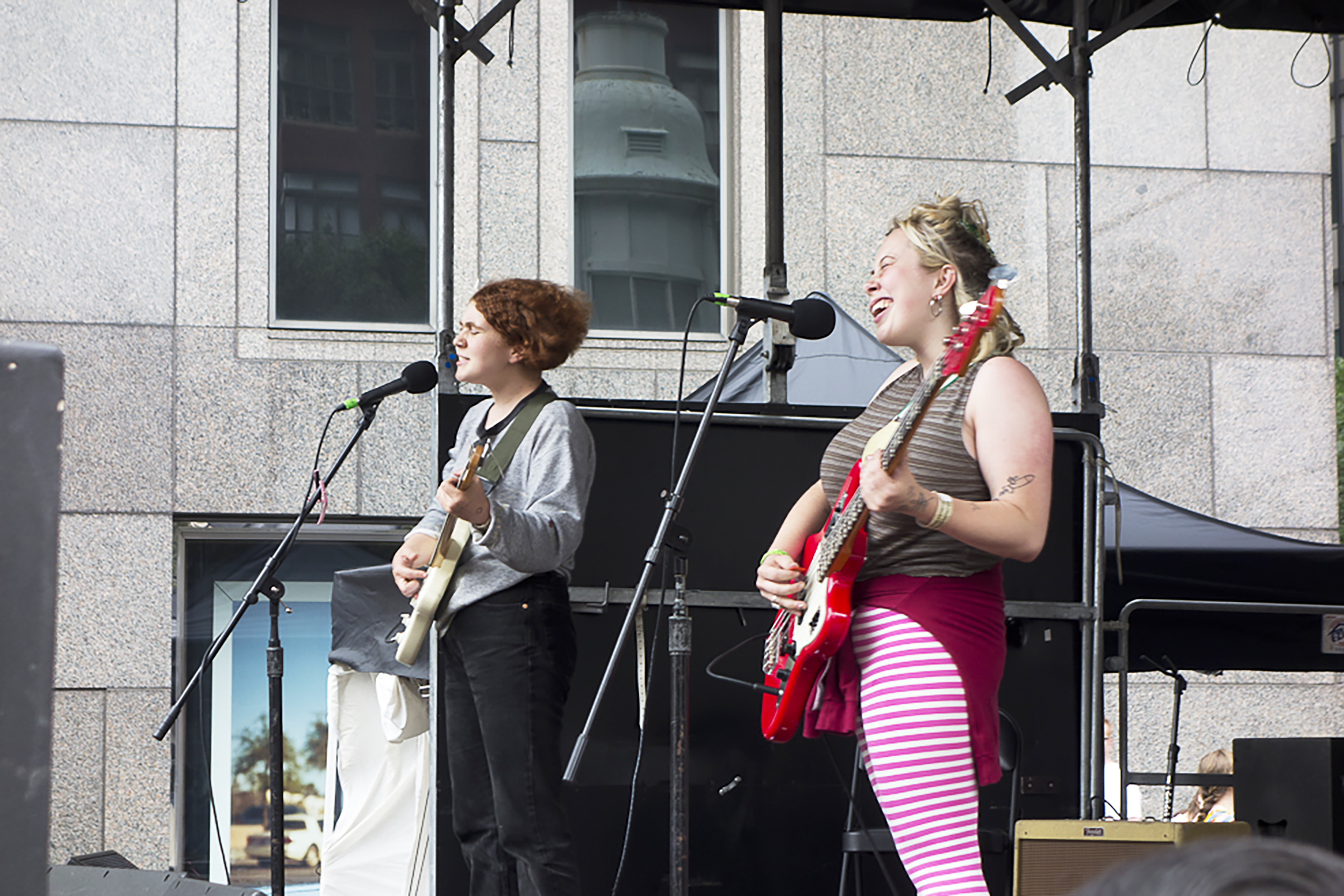 Musicians Cleo Tucker (pictured left) and Harmony Trividad (pictured right) are the main members of Girlpool. The band traditionally has more of a punk style, but  What Chaos is Imaginary  appears more experimental (Courtesy of Creative Commons).