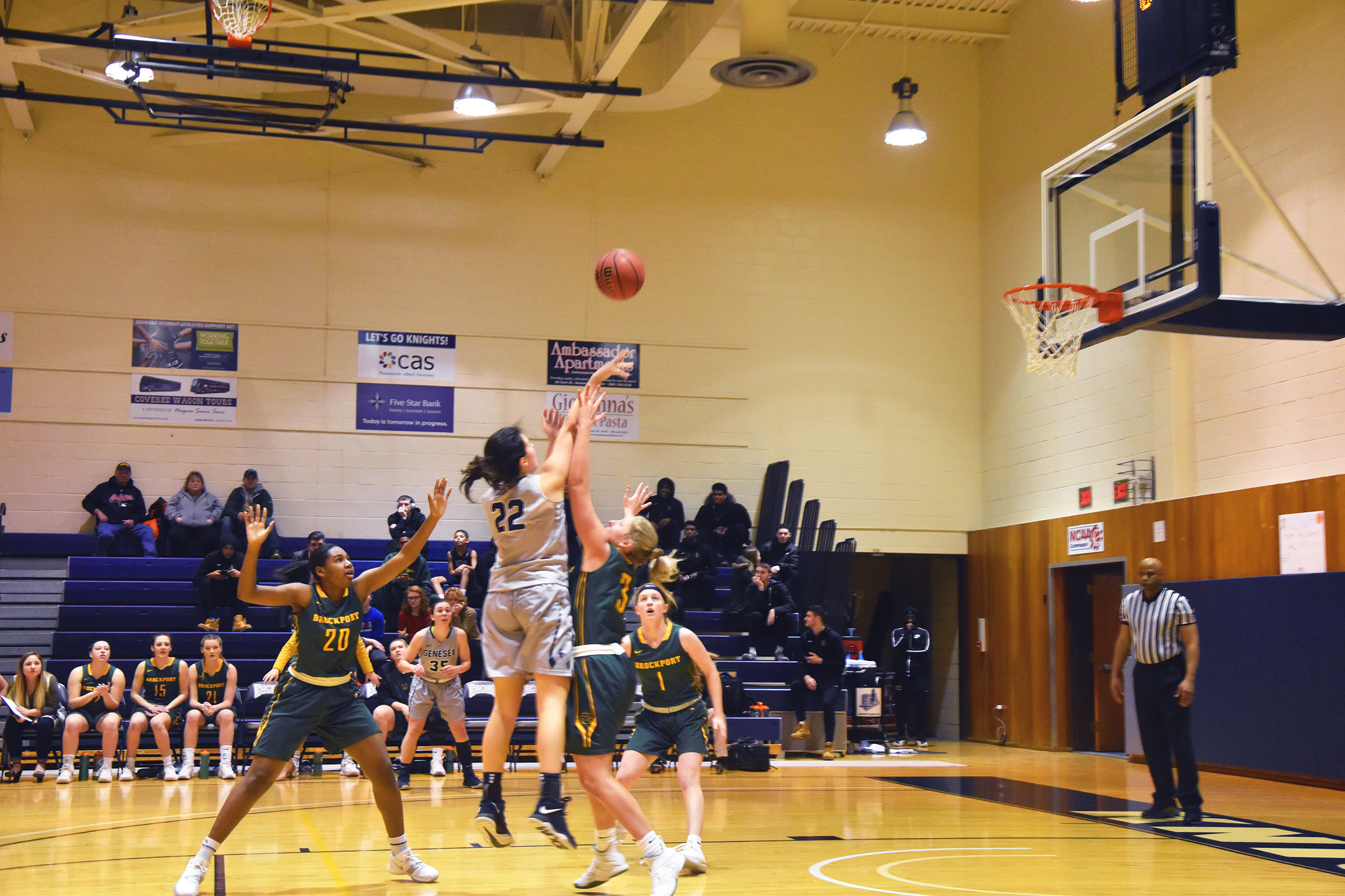 Sophomore forward Kerrin Montgomery shoots a jumpshot in a game against SUNY Brockport on Satuday Feb. 9. Montgomery scored 10 points in the contest (Josie Kwan/assoc. Photo editor).