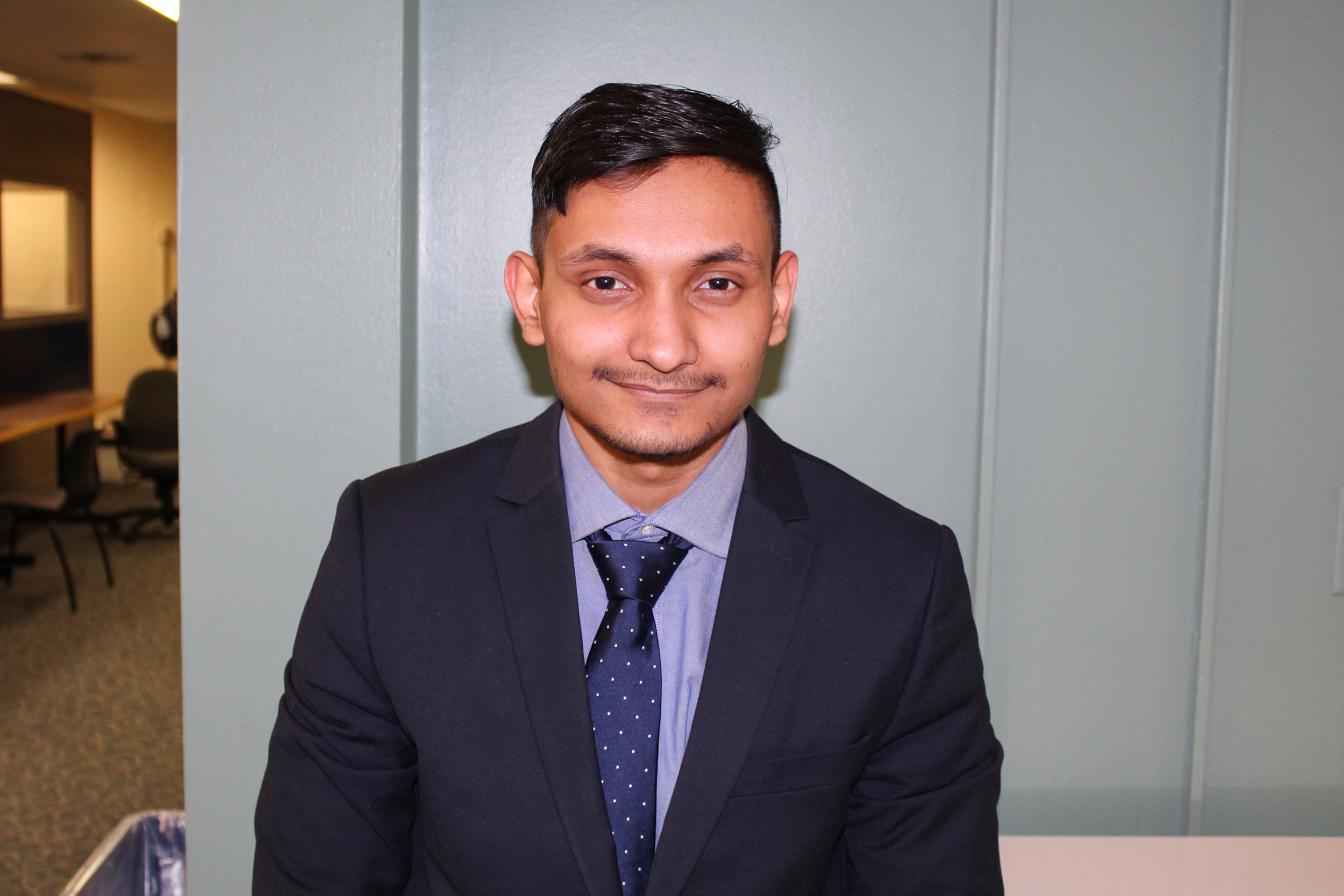 Syed Aliahsan is a pre-accounting major sophomore who is running to be the SA Director of Public Relations. He is one of three candidates. (Malachy Dempsey/Managing editor)