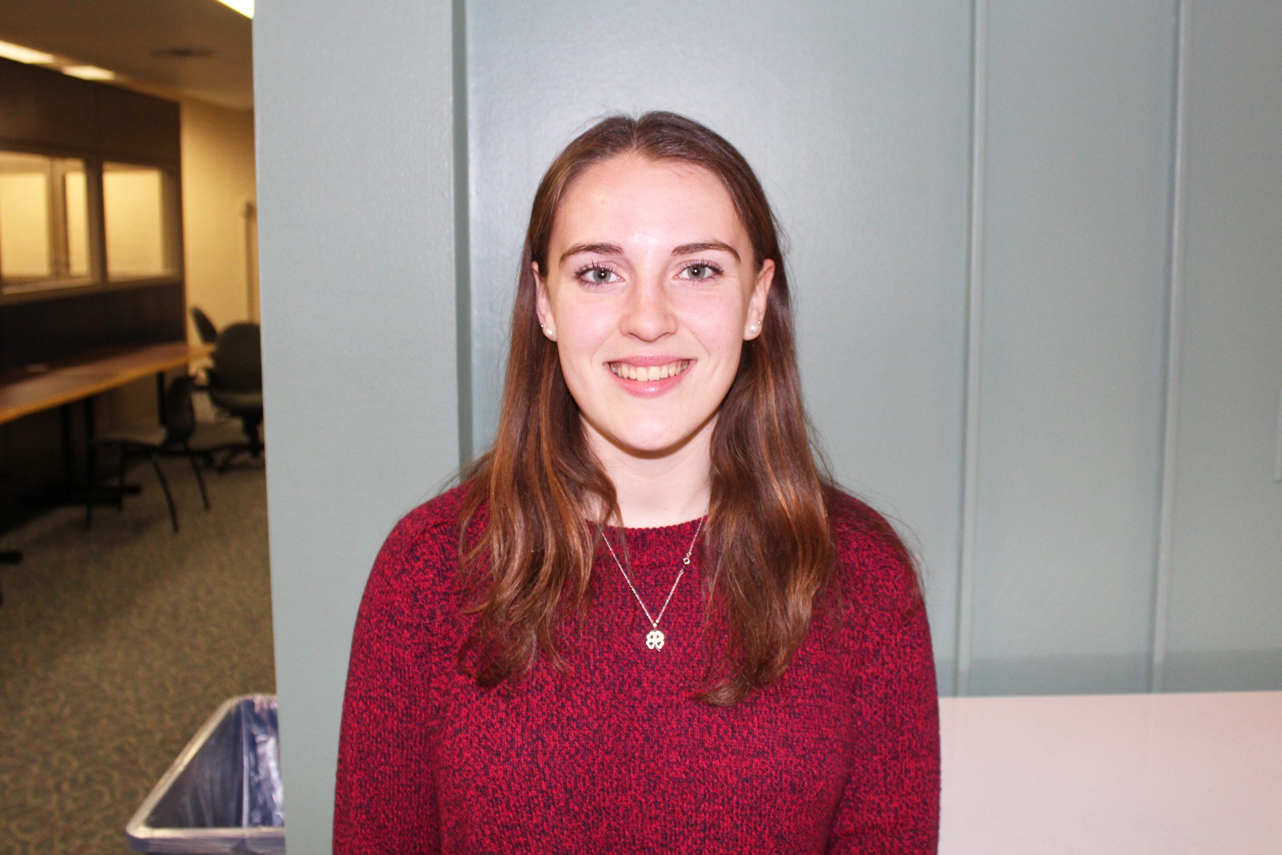 Mary-Margaret Dwyer is a communication major sophomore who is running to be the SA Director of Public Relations. She is one of three candidates. (Malachy Dempsey/Managing editor)