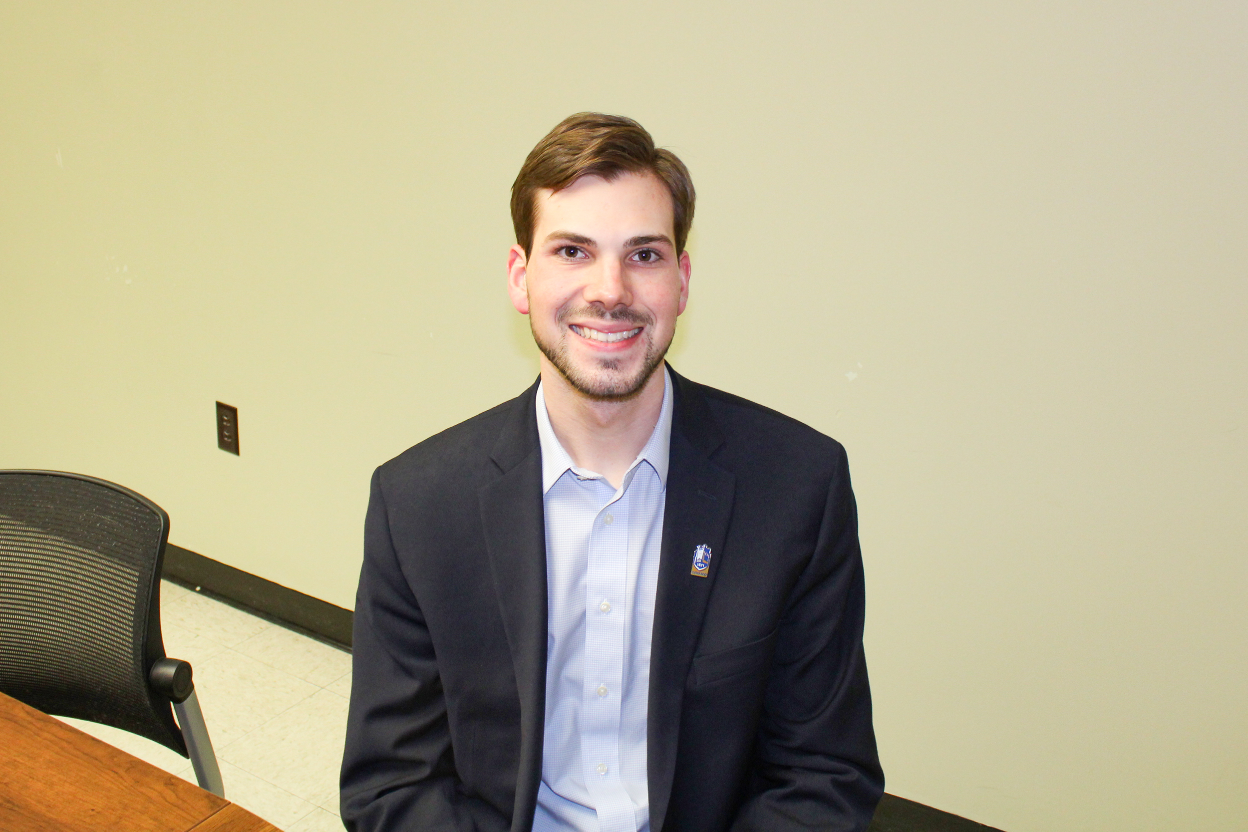 Adam Hansen is a biology and political science double major junior who is running to be the SA President for the next academic year. He is one of two candidates running for the position. Hansen currently serves as SA Vice President. (Malachy Dempsey/Managing editor)