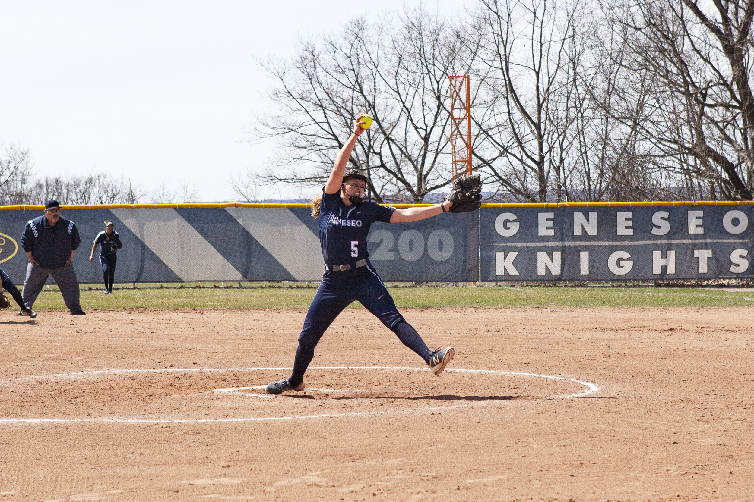 Senior pitcher Taylor Moore (pictured above) winds up at the mound on Saturday April 13 against SUNY Cortland. Moore pitched seven scoreless innings in a 1-0 win over the Red Dragons (Udeshi Seneviratne/Photo Editor).