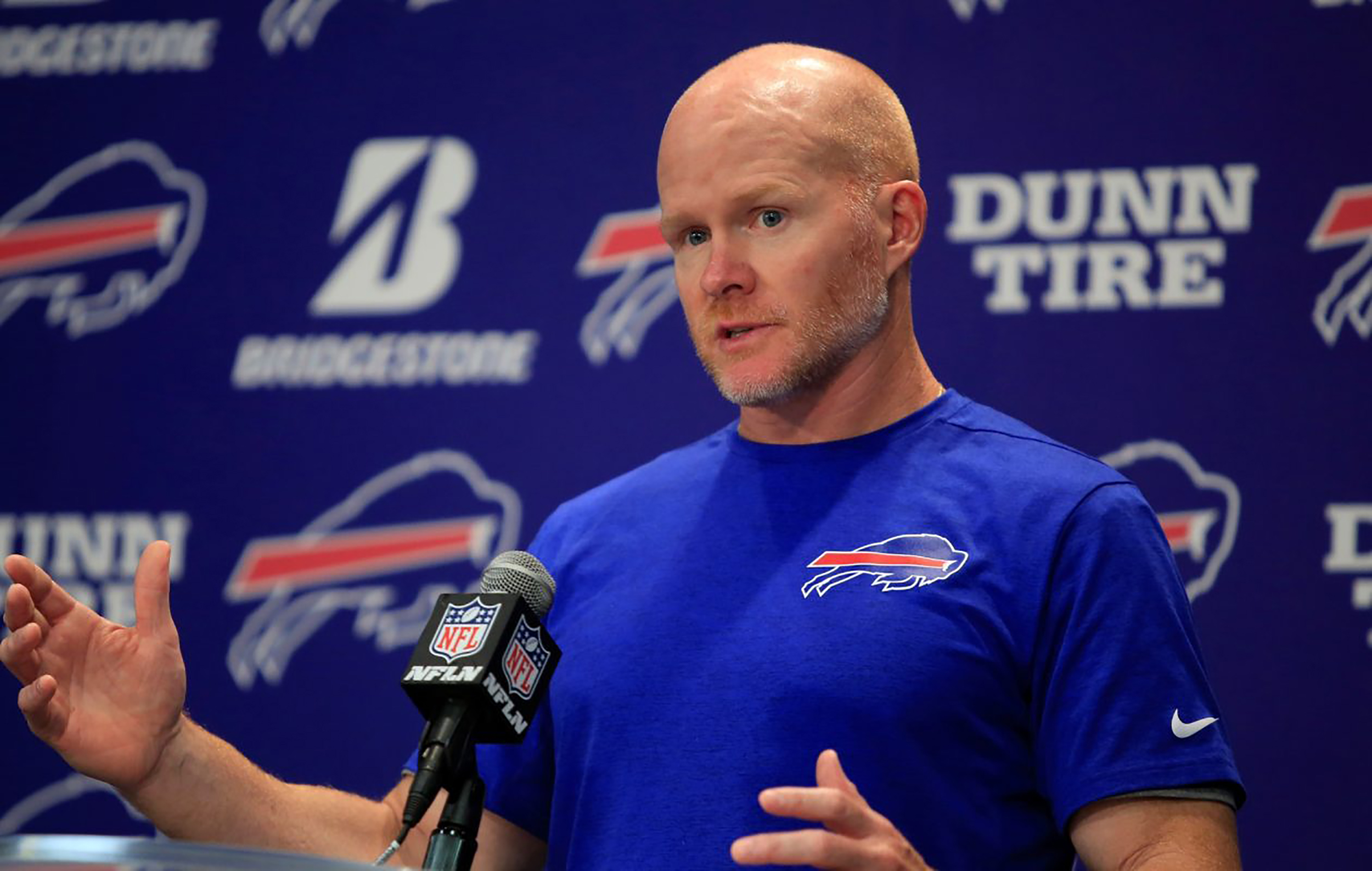 Buffalo Bills head coach Sean McDermott (pictured above) fielded questions from the media on Monday April 15. McDermott is entering his third season as the Bills head coach (courtesy of Creative Commons).