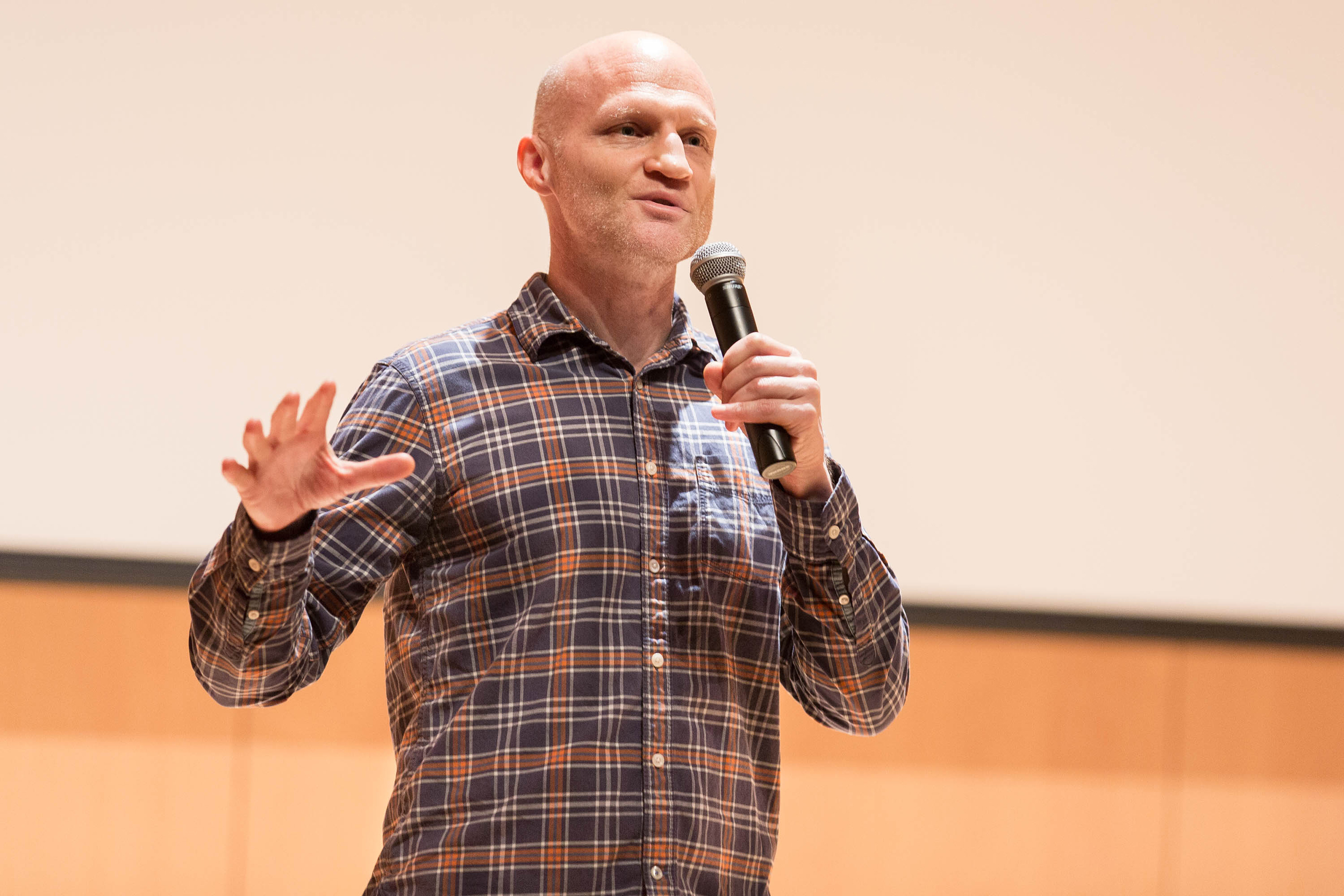 Founder of  The Onion  Scott Dikkers came to Doty Recital Hall on April 18 to speak about confrontations with failure followed by his path to success. Dikkers urged students to pursue their passions and to find their purpose (Annalee Bainnson/staff photographer).