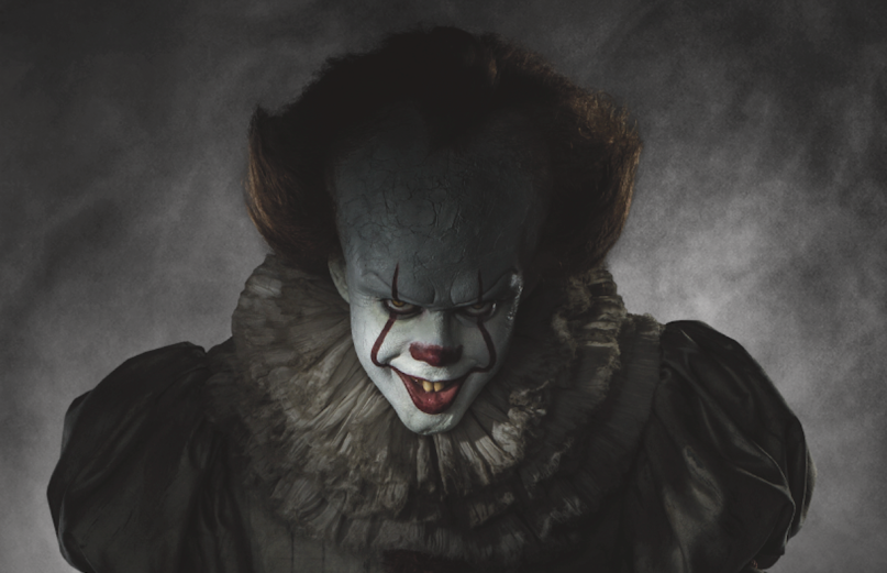 Pennywise the Dancing Clown (pictured above)—portrayed by Bill Skarsgård—is the demon that has been terrorizing the small town of Derry, Maine since the first It movie. The Losers' Club, initially a group of children, are now adults who must take down Pennywise before they are killed off one by one (courtesy of Richard G Smith Jr).