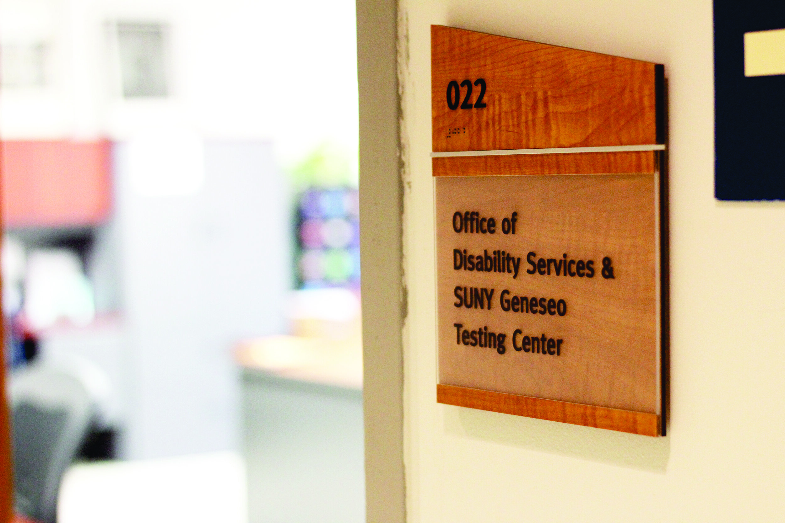 The Office of Disability Services and Geneseo Testing Center (pictured above) is currently run by Interim Disability Services Coordinator Leah Houk as the college searches for a permanent position holder (Catherine White/former Editor in Chief).