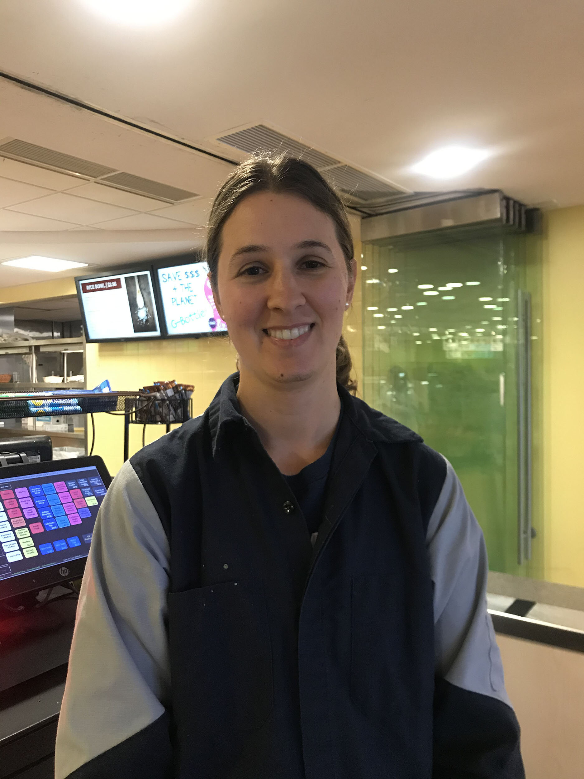 Denna Steltzer is a CAS employee who has worked at Geneseo for five years. She has various skills as an employee, as she is tasked with being a cashier and stocking food (Leila Sassouni/knights' life editor).